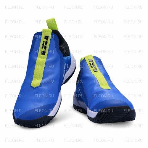 Мужские кроссовки Nike Lebron Ambassador 11 (голубой-салатовый-черный)