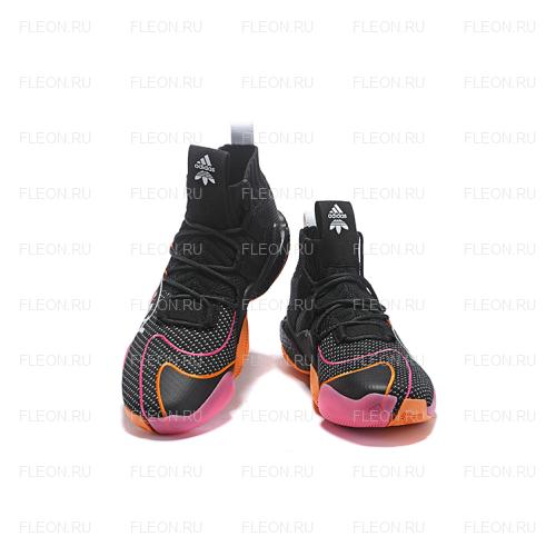 Мужские кроссовки Adidas Crazy BYW LVL X Pharrell Williams (черный-розовый-оранжевый)