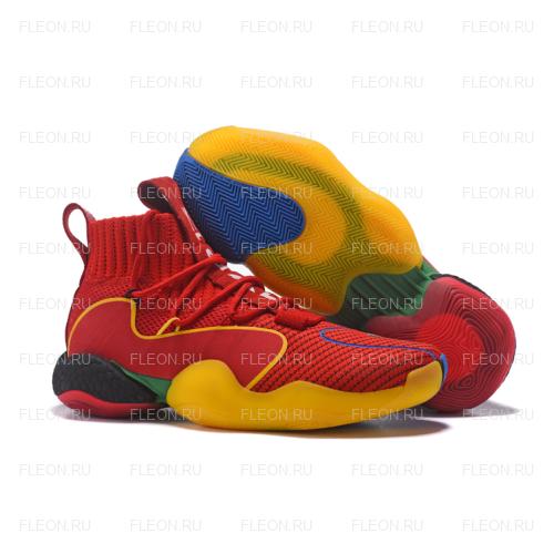 Мужские кроссовки Adidas Crazy BYW LVL X Pharrell Williams (красный-разноцветный)