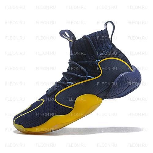 Мужские кроссовки Adidas Crazy BYW LVL X Pharrell Williams (синий-желтый)