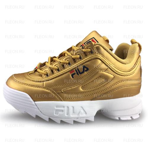 Женские кроссовки FILA Disruptor 2 (золотой-белый)
